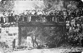 Inauguração da Ponte Seca e via Férrea em 1907.